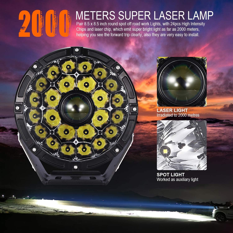 Laser TBS - 2002X 2Pcs Laser Led Off Road Lights 16600LM Round Pod Spot Driving Lights 2-kilometer Wide-view Distance for Jeep, Truck, Pickup