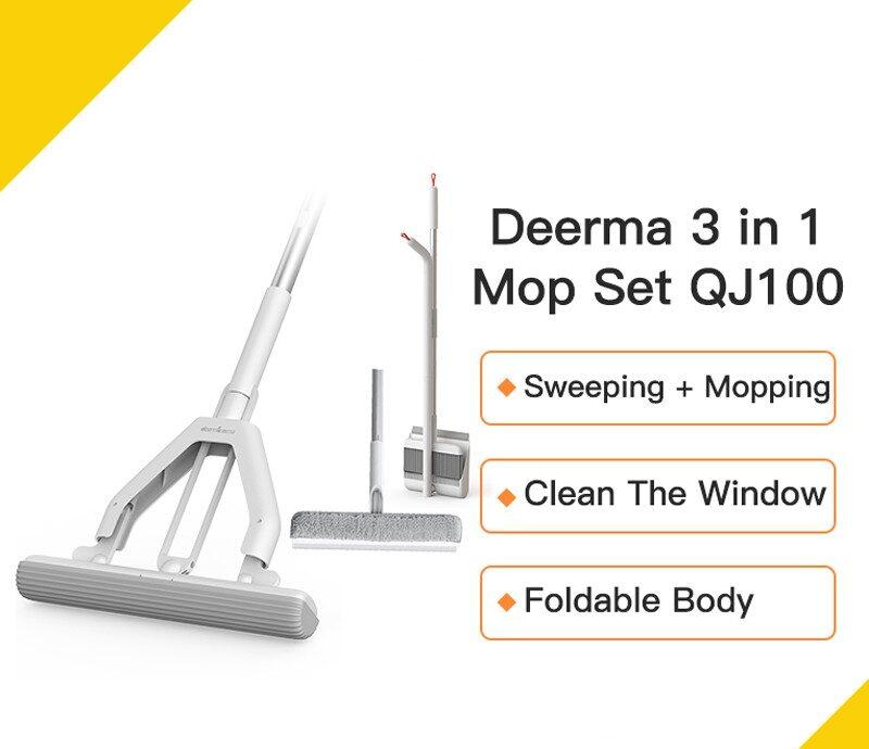 Deerma QJ100 Cleaning Broom 3 in 1 Multifunction Broom Dustpan Sets Household Cleaning Kit Sponge Mop Window Cleaning