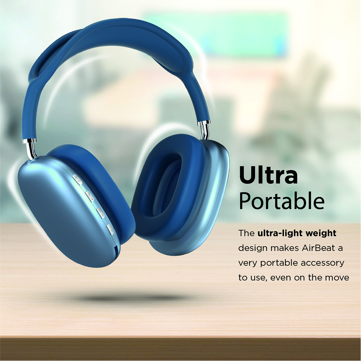 Promate Wireless Bluetooth Headphones, Ergonomic Over-Ear Adjustable Bluetooth 5.0 Headset with Mic, FM Radio, TF Card Slot and Wired Mode 3.5mm Jack for iPhone 12, Gym, Travel, Office, AirBeat Blue