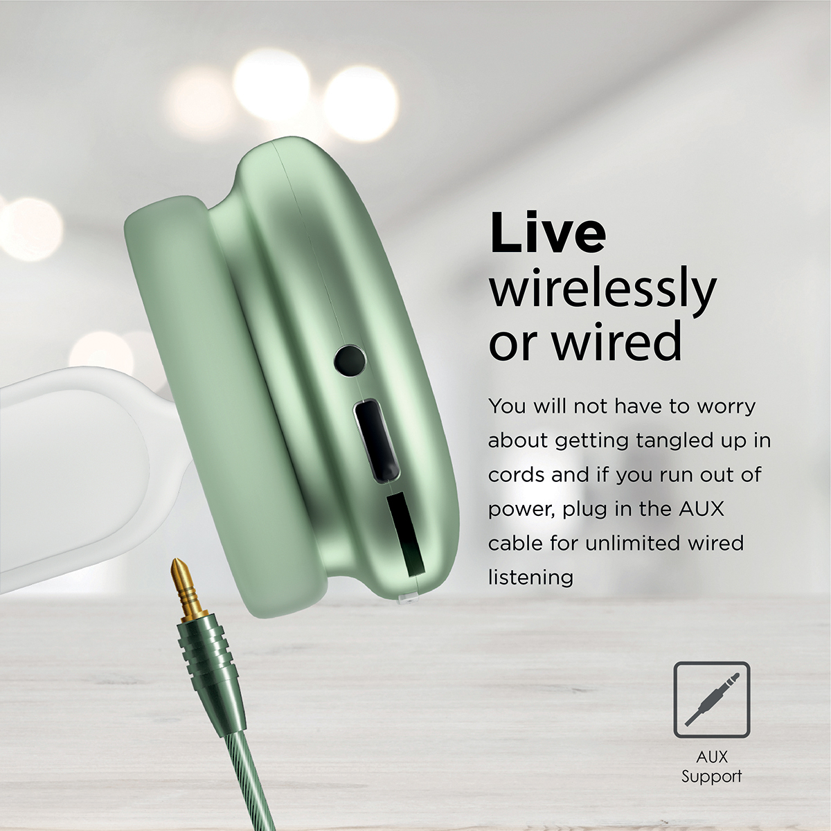 Promate Wireless Bluetooth Headphones, Ergonomic Over-Ear Adjustable Bluetooth 5.0 Headset with Mic, FM Radio, TF Card Slot and Wired Mode 3.5mm Jack for iPhone 12, Gym, Travel, Office, AirBeat Midnight Green