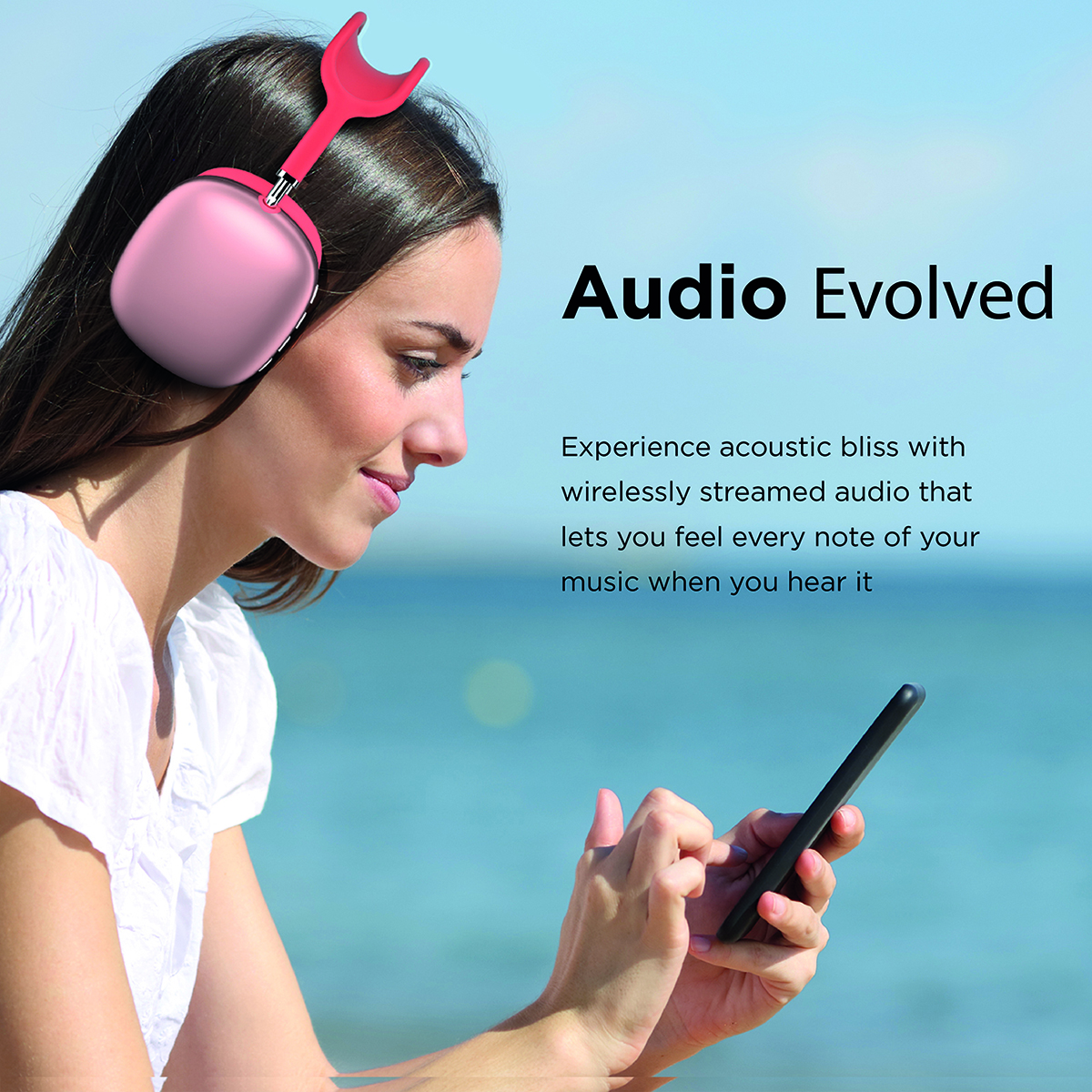Promate Wireless Bluetooth Headphones, Ergonomic Over-Ear Adjustable Bluetooth 5.0 Headset with Mic, FM Radio, TF Card Slot and Wired Mode 3.5mm Jack for iPhone 12, Gym, Travel, Office, AirBeat Red