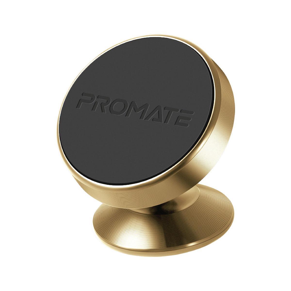 Promate Magnetic Car Phone Holder, Multi-Angle 360 Degree Metallic Magnetic Car Phone Mount with Anti-Slip Surface, Anti- Distraction Design and Fast Swift-Snap Technology for Smartphones, Tablets, GPS, Magnetto-2 Gold