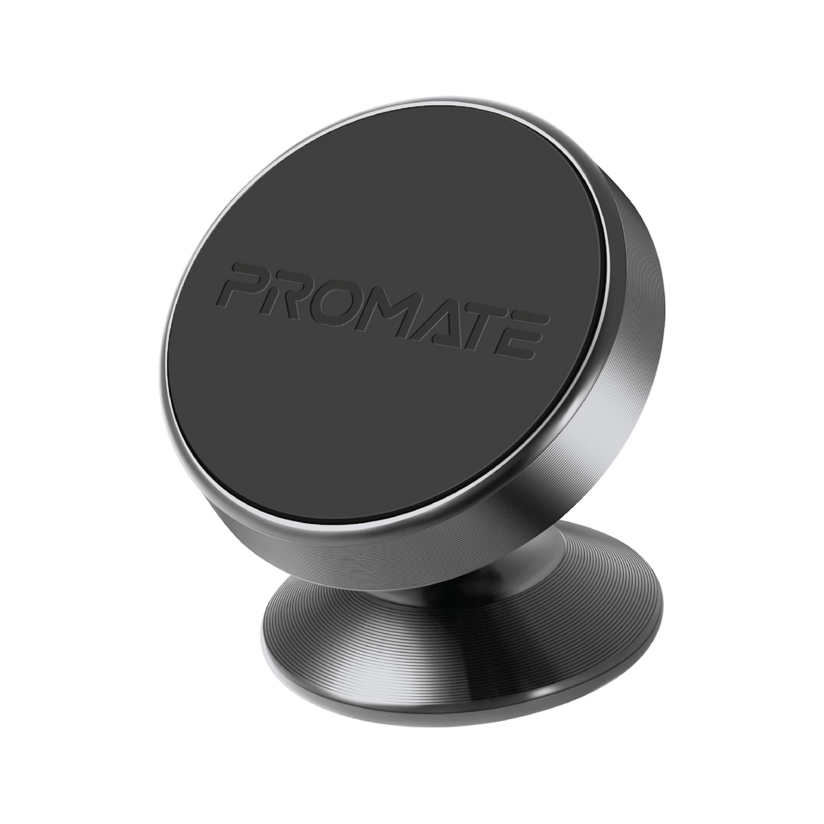 Promate Magnetic Car Phone Holder, Multi-Angle 360 Degree Metallic Magnetic Car Phone Mount with Anti-Slip Surface, Anti- Distraction Design and Fast Swift-Snap Technology for Smartphones, Tablets, GPS, Magnetto-2 Grey