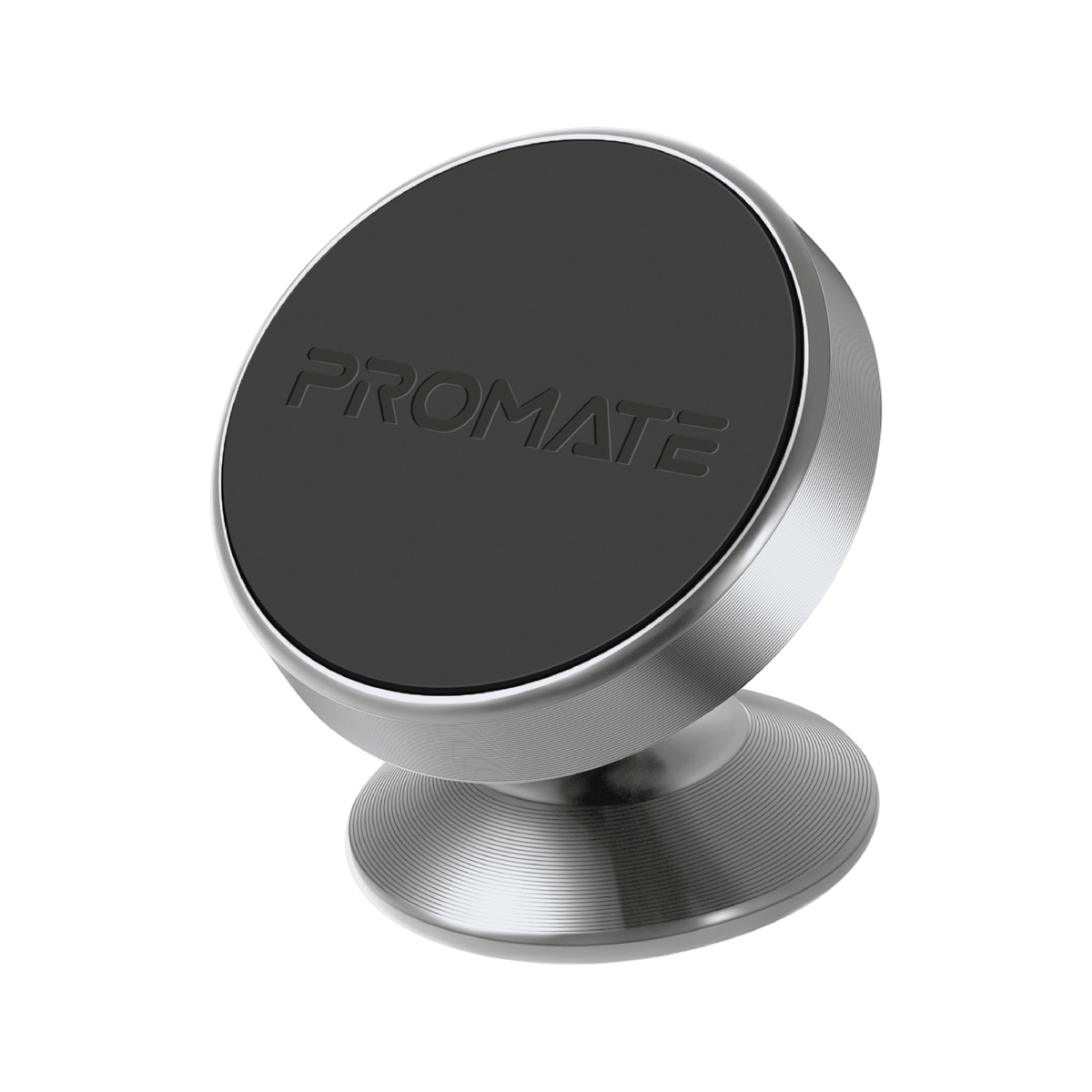 Promate Magnetic Car Phone Holder, Multi-Angle 360 Degree Metallic Magnetic Car Phone Mount with Anti-Slip Surface, Anti- Distraction Design and Fast Swift-Snap Technology for Smartphones, Tablets, GPS, Magnetto-2 Silver