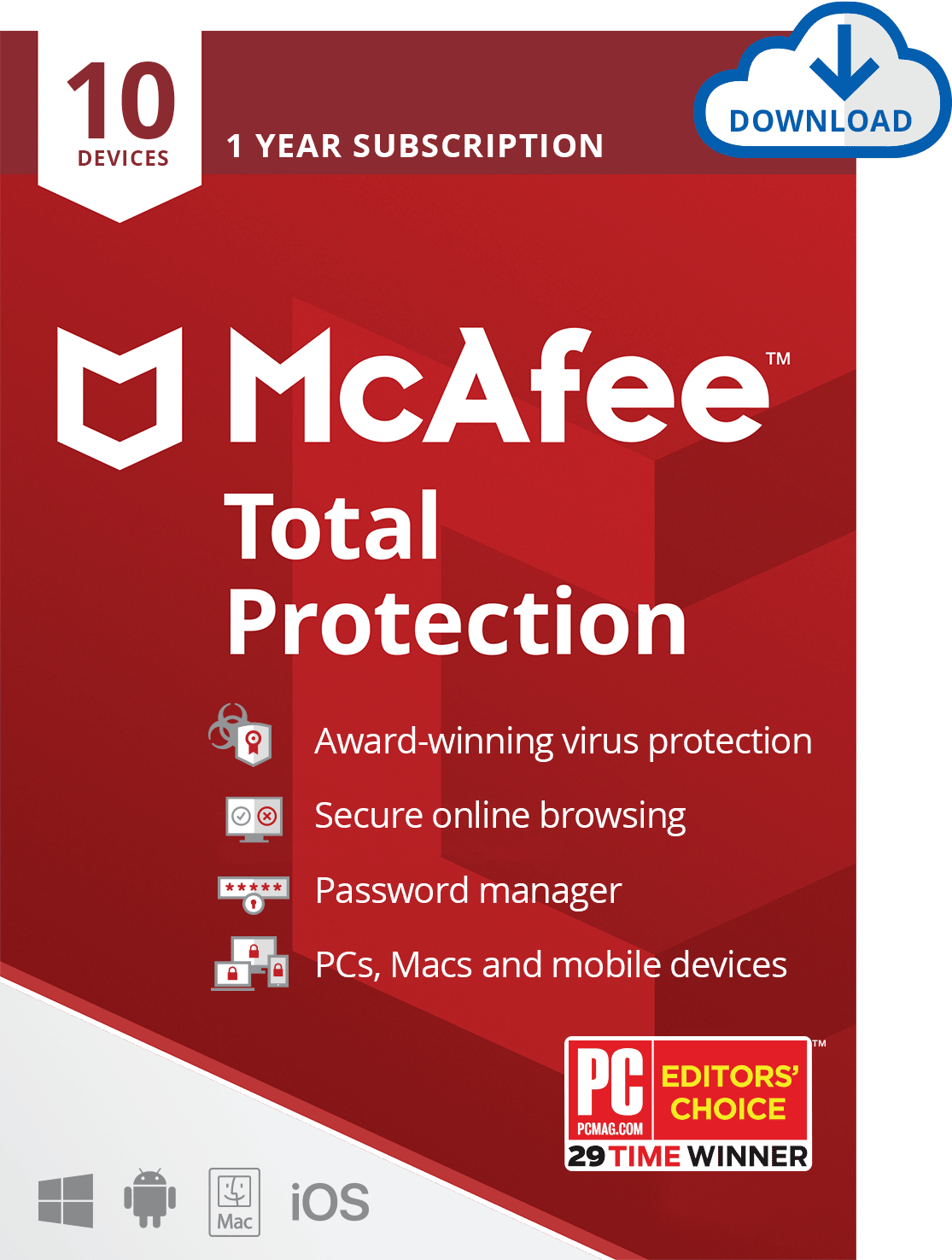 McAfee Total Protection For 10 Devices - Email Delivery