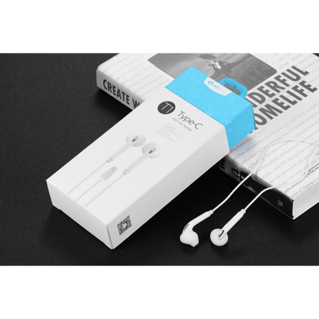 Kuke T1 Earphones TYPE-C Stereo Ear Buds with Microphone Noise Isolating in-Ear Headphones
