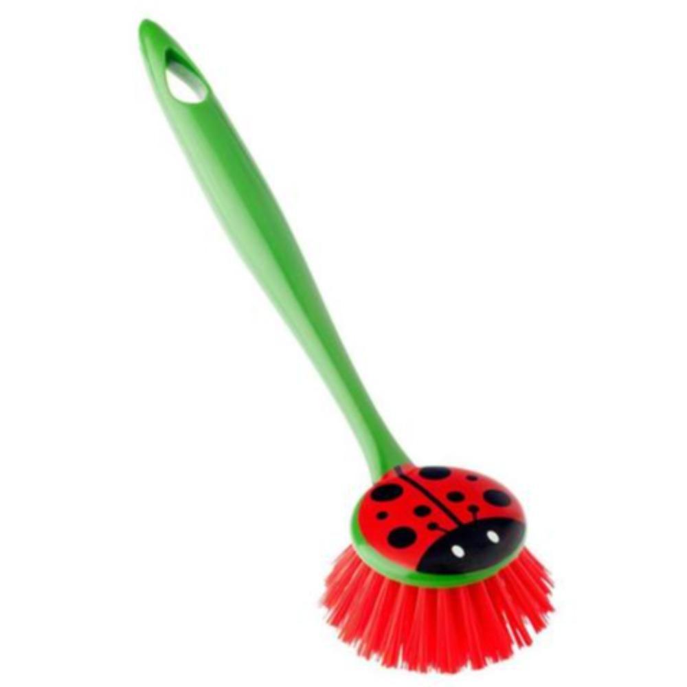 Vigar Ladybug Palm Dish Brush With Holder