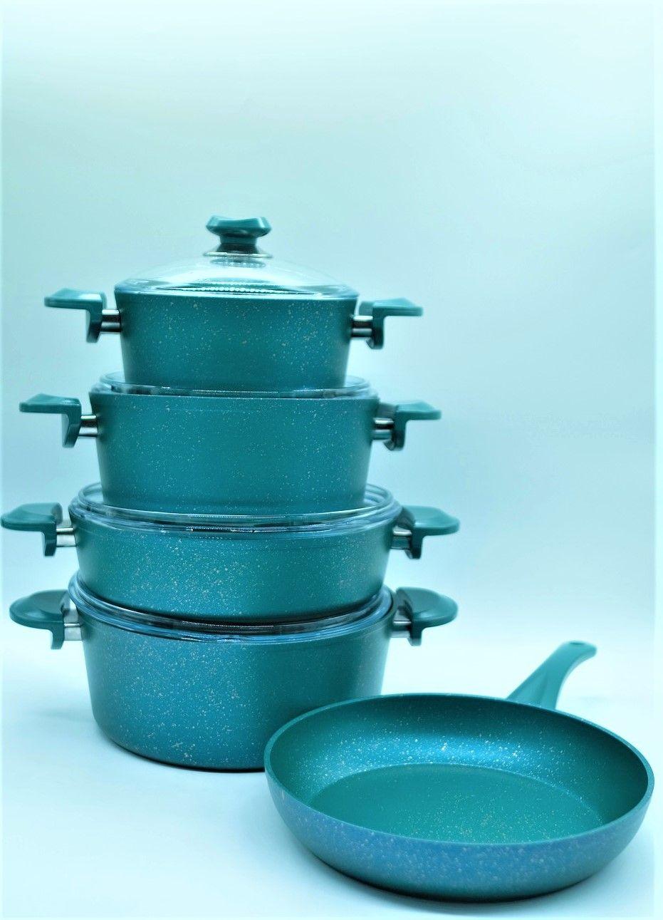 OMS 9 Pcs Mentol Granitec Cookware Set - Made in Turkey