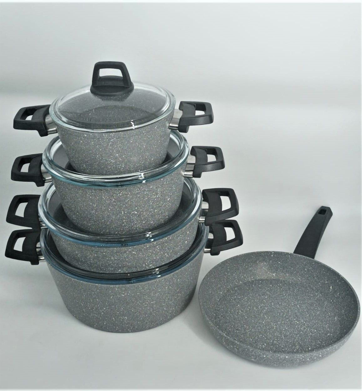 WISTERIA 9PCS GREY COOKWARE SET - MADE IN TURKEY