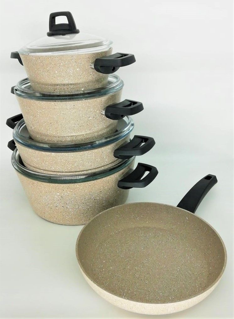 WISTERIA 9PCS BROWN COOKWARE SET - MADE IN TURKEY
