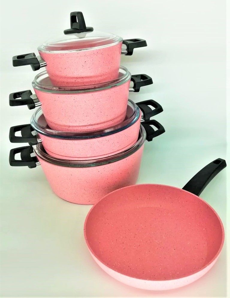 WISTERIA 9PCS PINK COOKWARE SET - MADE IN TURKEY