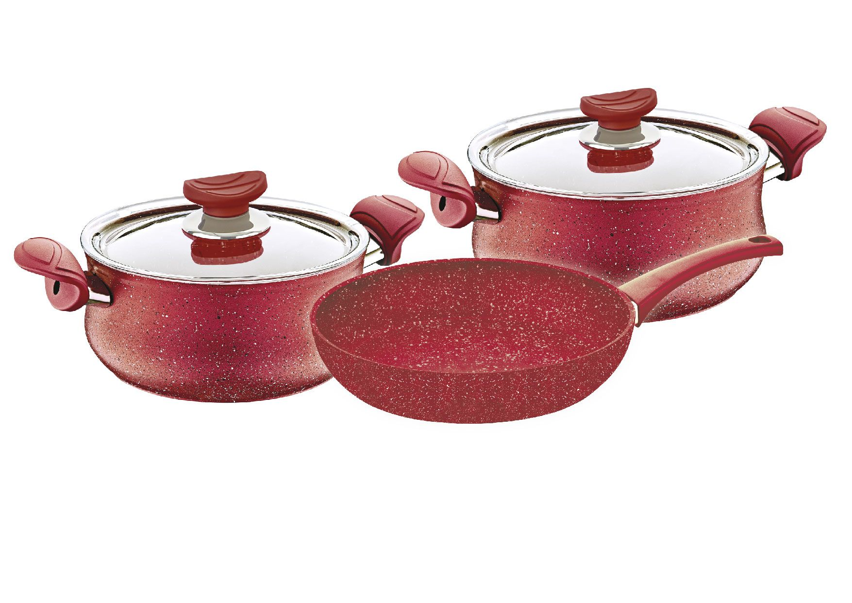 Oms 5 pcs Red Granitec Cookware Set - Made in Turkey