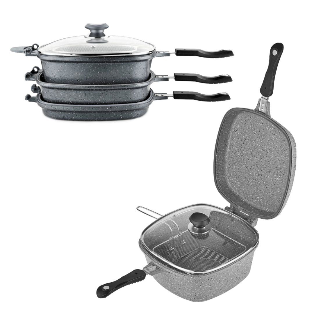OMS 7 Pcs. Grey Multi Cooker Set - Made In Turkey
