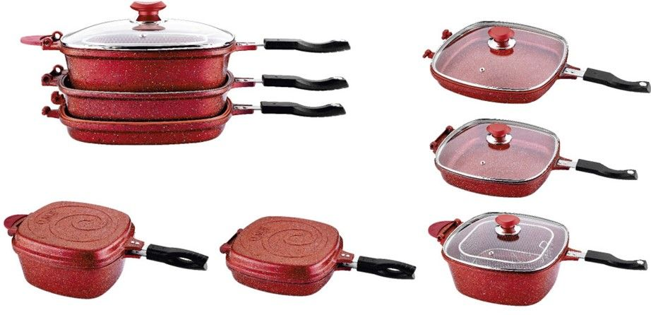 OMS 7 Pcs. Red Multi Cooker Set - Made In Turkey