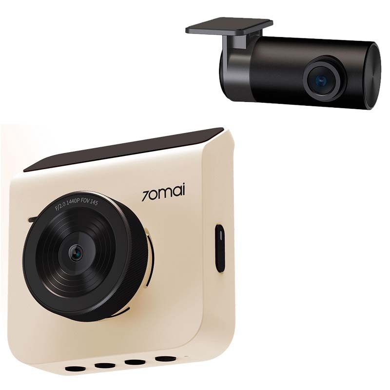 70mai A400 Dual Channel Car Dash Cam, 1440p Front & 1080p Rear, WDR, Night Vision, G-Sensor, App Playback & Share, Optional Parking Monitoring (White)